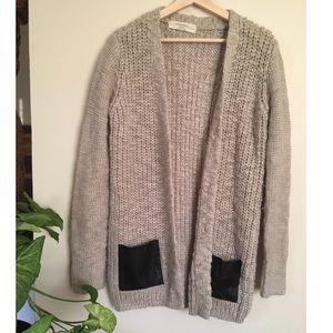 zara knit cardigan with faux leather pockets